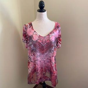 EUC One World pink and red roses top.